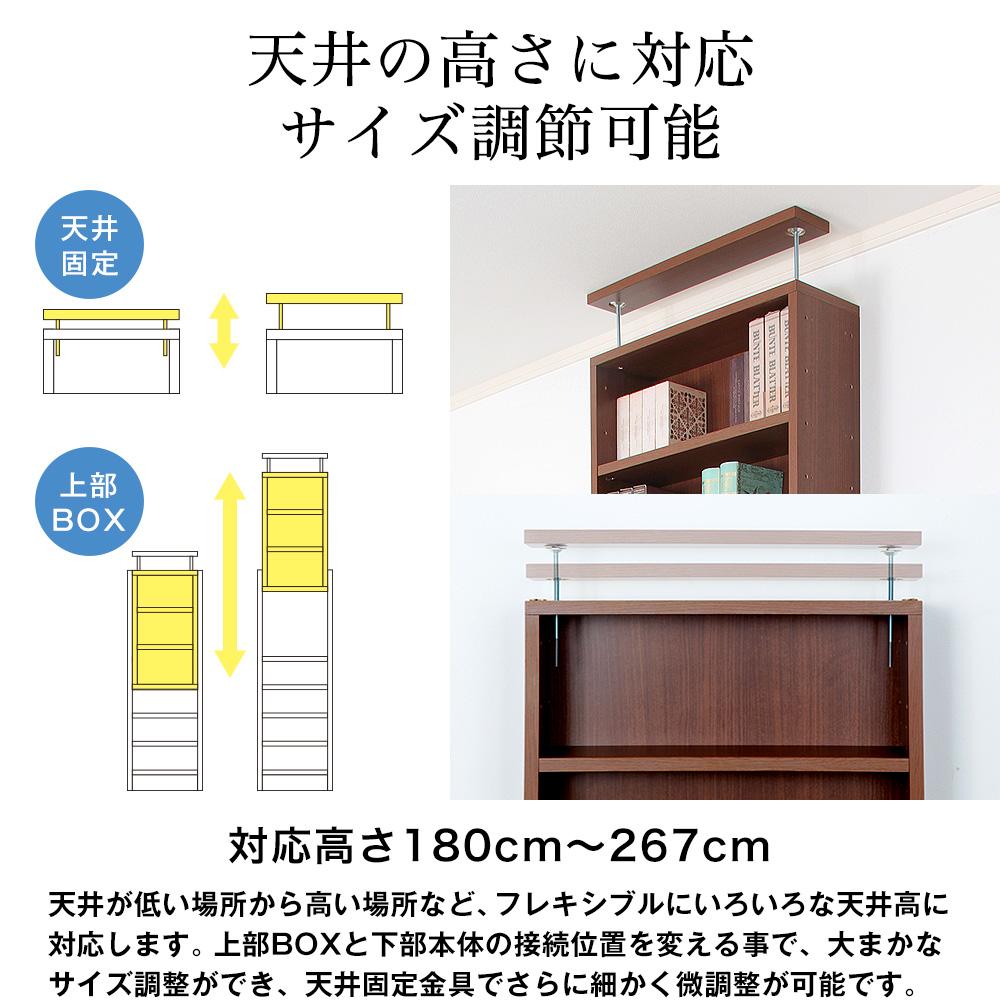 天井つっぱりラック TEN 幅45cm×奥行44cm 書棚 収納棚 収納ラック 壁面収納・突っ張り壁面キャビネット