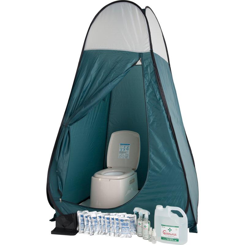 災害用トイレ処理剤|ほっ!トイレタブレット 100袋と便座とテントのフルセット