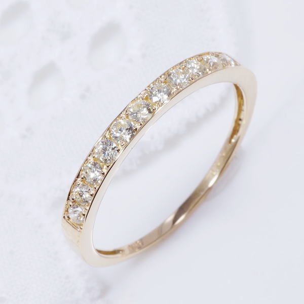 K18WG ダイヤリング/ハーフエタ