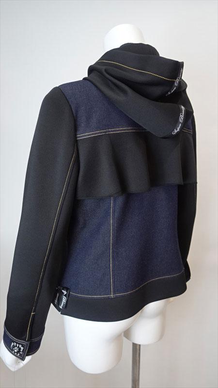 Jacket フード着脱可 ダンボールニット×デニム素材のジャケット