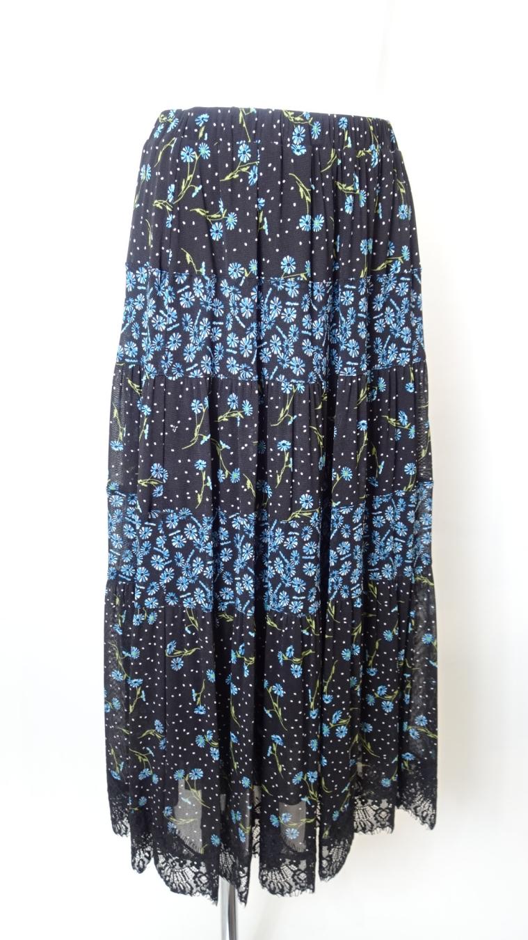 Skirt 裾レースデザイン 花柄プリントスカート