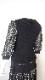 Knit パワーネット素材切替の七分袖リブ編みセーター