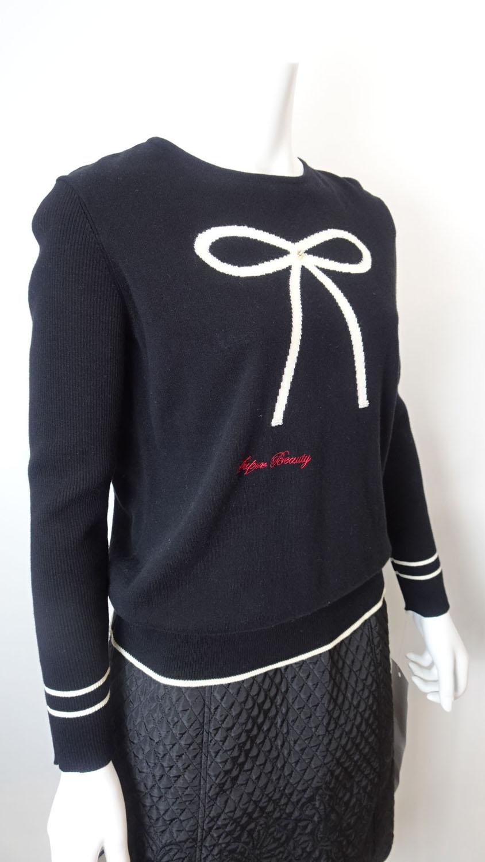 Knit 胸リボン柄の配色ジャガードセーター