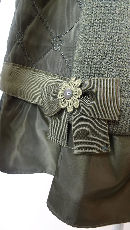 Jacket フリルデザイン 中綿キルティング×ニットドッキングのベスト