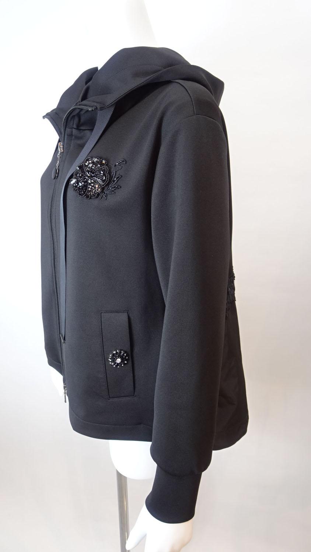 Jacket バックスタイル レース×タフタ素材切替のダンボールニット素材パーカー
