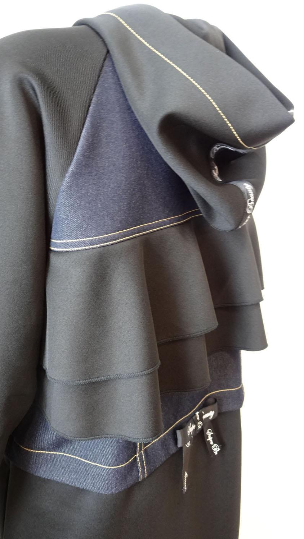 Jacket ダンボールニット×デニム素材のフード付きロングジャケット