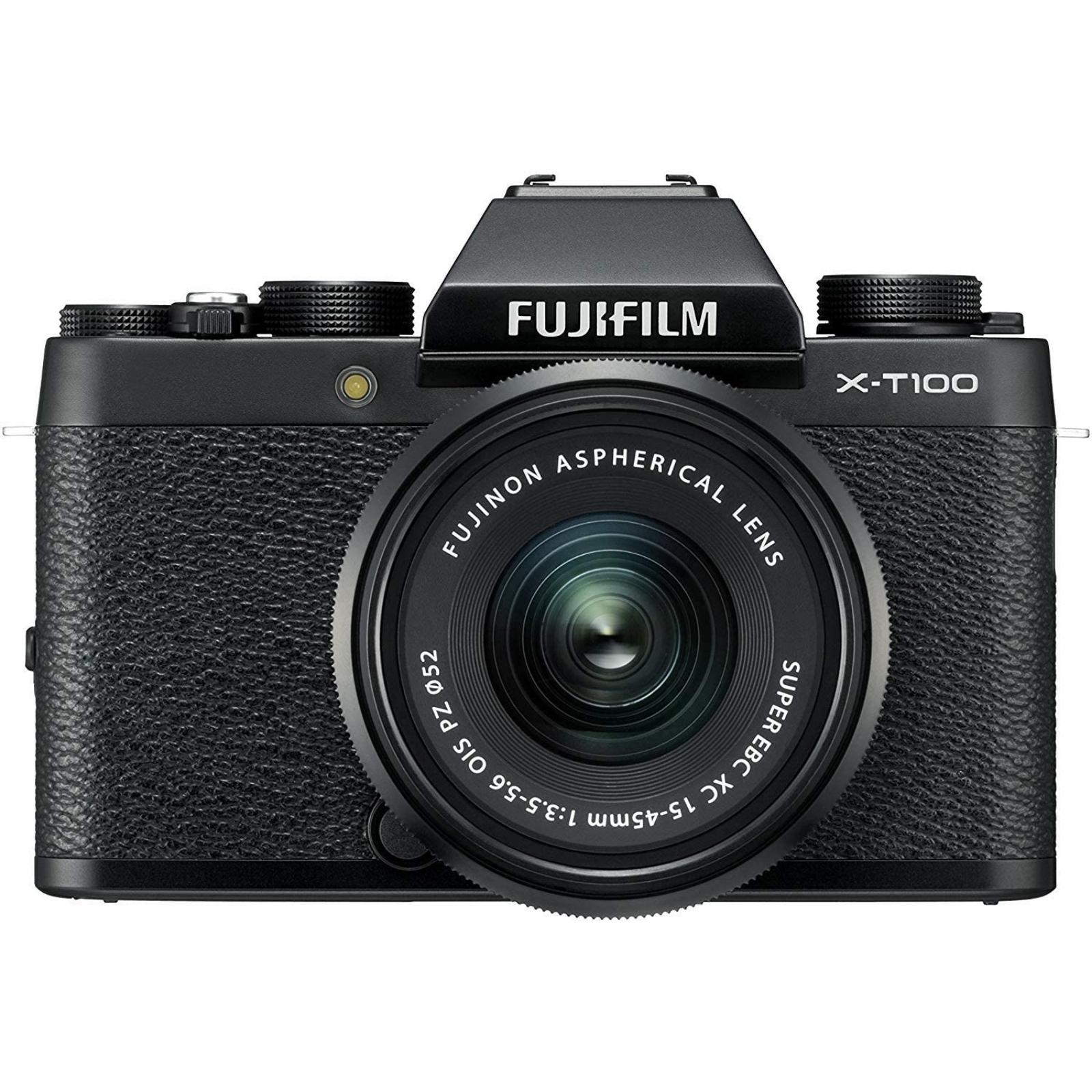 FUJIFILM 富士フィルム ミラーレス一眼カメラ X-T100 レンズキット ブラック X-T100LK-B 新品