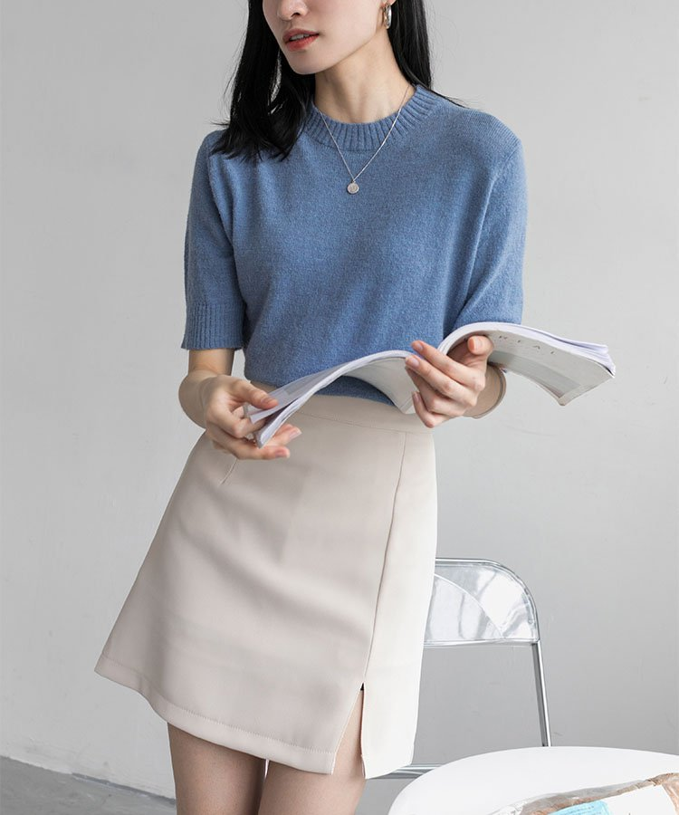 【ももち着用】タックサイドスリットショートスカート