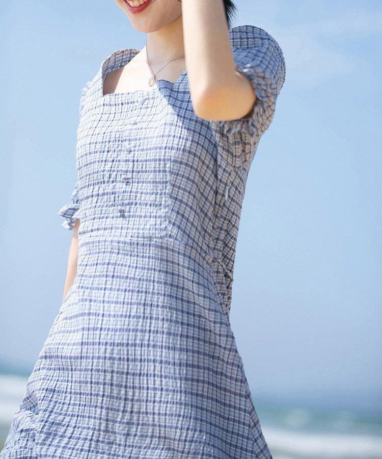 【なえなのさん着用】【Ray9月号掲載】スクエアカラーチェック切り替えワンピース