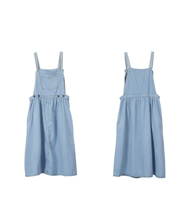 【なえなのさん着用】ギャザーデニムサロペットスカート