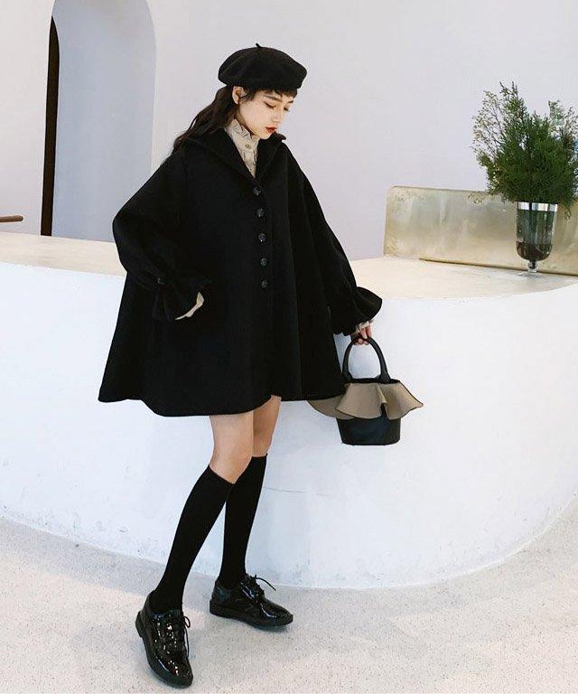 【なえなのさん・みぽたぽたさん着用】ポンチョラッフルカフスコート