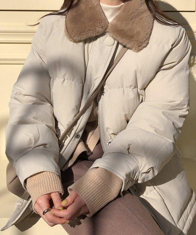【ももちさん着用】ボアウエストナローダウンコート