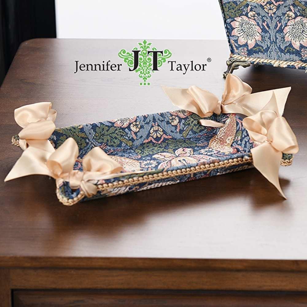 ジェニファーテイラー トレイ トレー 小物入れ リボン 布 布張り 収納 高級 おしゃれ モリス いちご泥棒 Strawberry Thief  Jennifer Taylor 33100TY