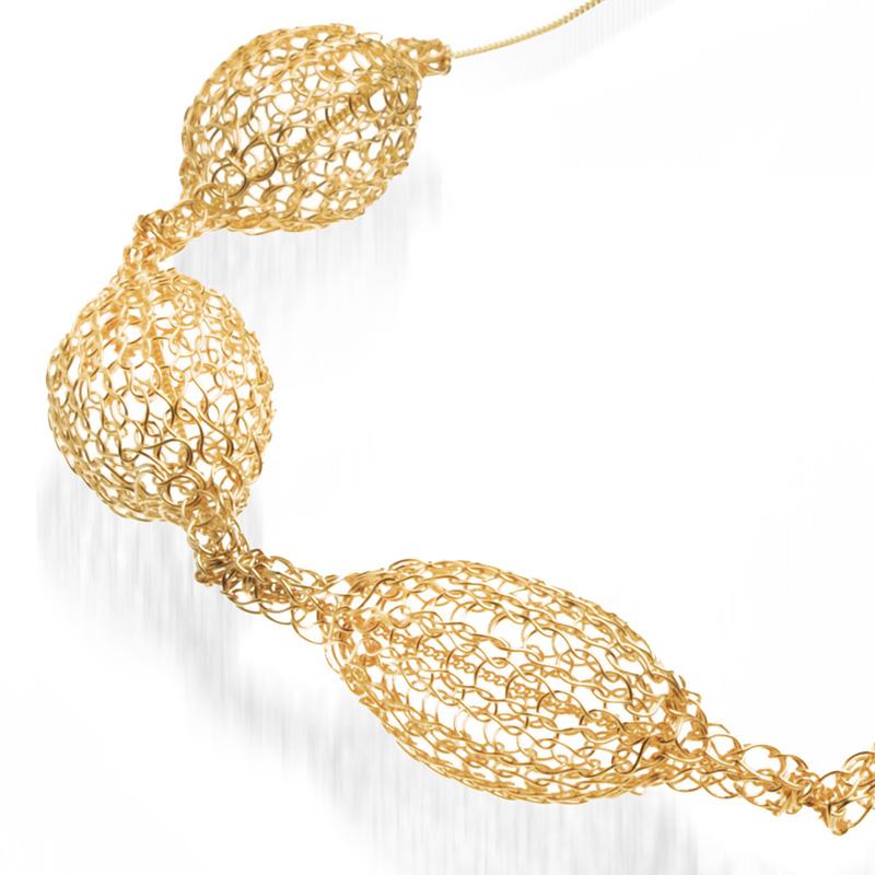 【ヨーラ】14金ゴールド・5粒ネックレス
