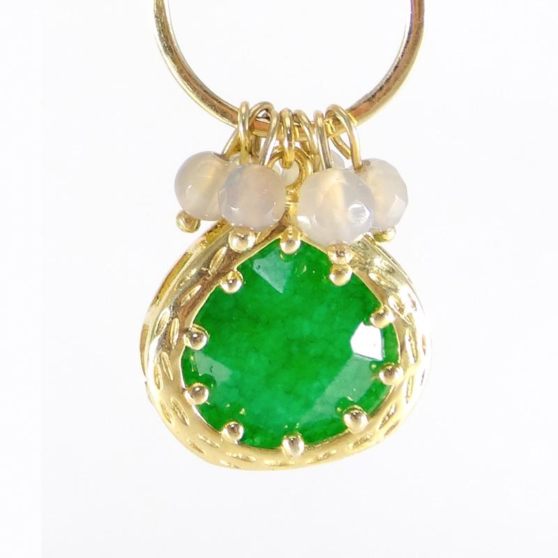 【Chateau D'Argent】14金・水晶(緑・ライトグレー)ピアス:50%OFF