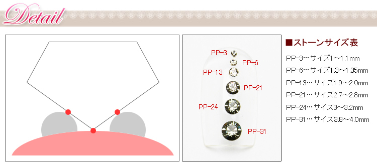 PP-21C ネイルパーツ スワロフスキー・エレメント#1028チャトン(Vカット) PP-21【レジン】