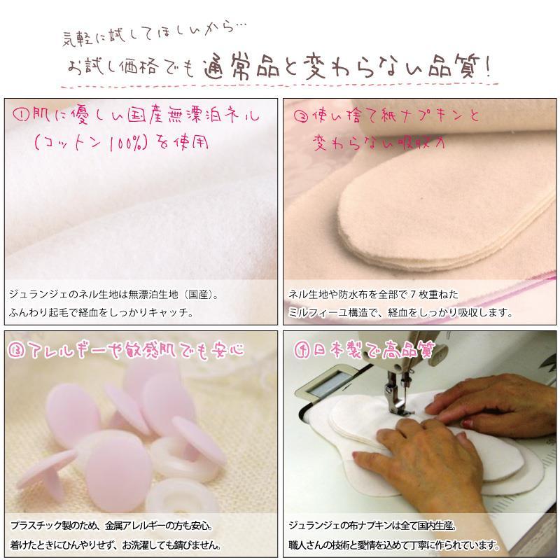 [初回限定] 布ナプキン お試し一体型 Mサイズ 生成り 1枚 [ 防水布入り布ナプキン/昼用 / 24.5cm ] 普通の日 ネル生地 (日本製)