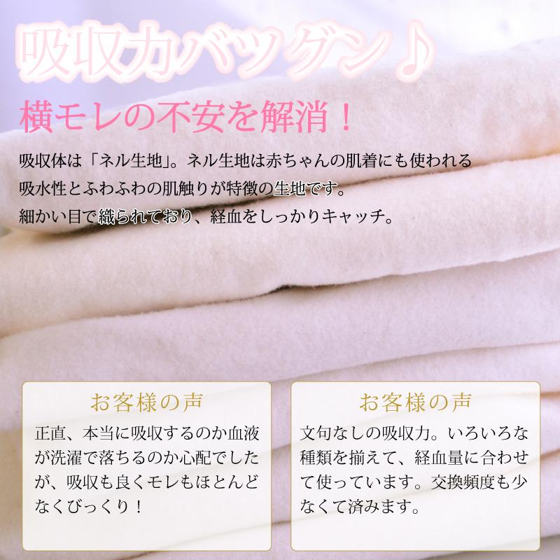 布ナプキン お試し一体型 Mサイズ 生成り 3枚セット [ 防水布入り布ナプキン/昼用 / 24.5cm /洗剤付き] 普通の日 ネル生地 (日本製)メール便送料無料