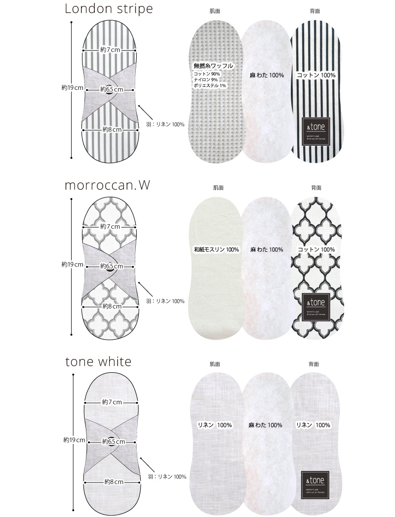 &tone 布ナプキン 布おりものライナー ホワイトシリーズ 1枚 [おりもの用 / 19cm / スマイルコットン/和紙モスリン/リネン] 麻わた (日本製) JEWLINGE