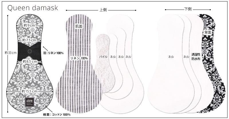 &tone 布ナプキン 一体型 Lサイズ 1枚 [立体構造 / 防水布入り/布ナプキン / 33cm / オーガニックリネン×コットン/オーガニックコットン/リネン] 麻わた (日本製) JEWLINGE
