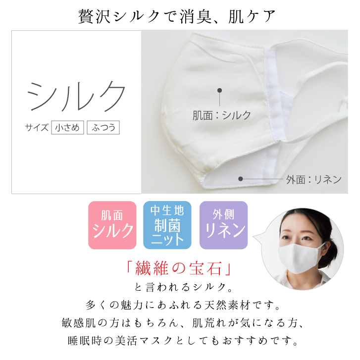 洗える制菌布マスク 1枚 [ 安心の三層構造/SEKマーク/ 大人用ふつう] シルク/ダブルガーゼ/ミューファン(日本製)
