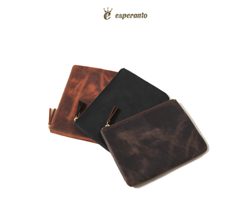 esperanto エスペラント クレイジーカーフレザー ポーチ 牛革 本革 ケース ESP-6621