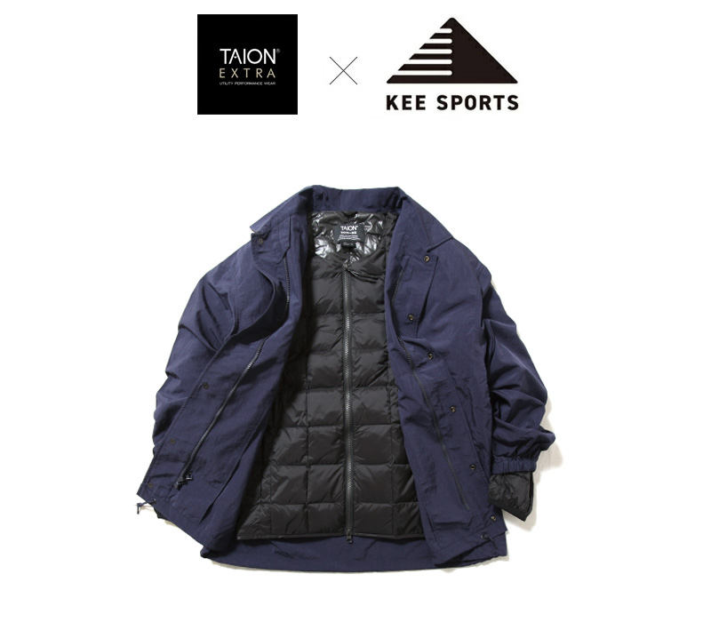 KEE SPORTS キースポーツ TAION タイオン 脱着式コーチジャケット インナーダウン ライナー付き KEW003T