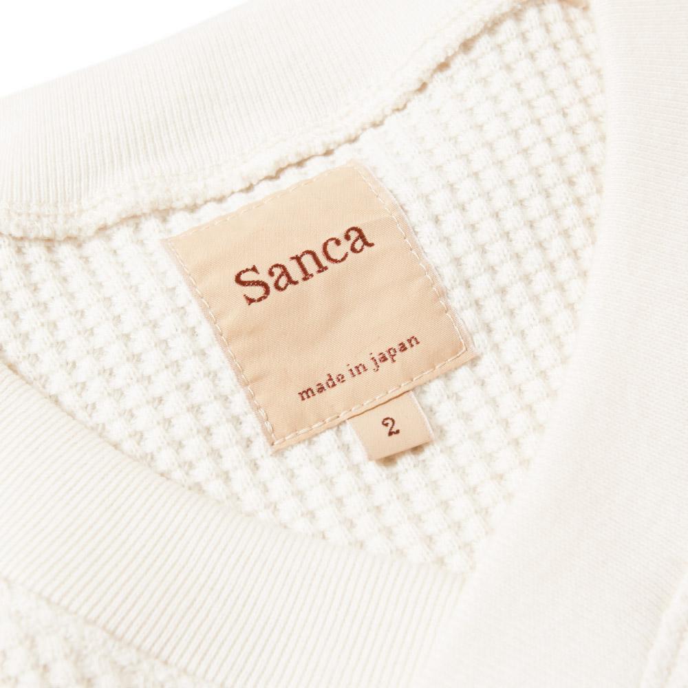 Sanca サンカ ビッグワッフルVネック メンズ S21FSW08 カットソー 日本製 コットン