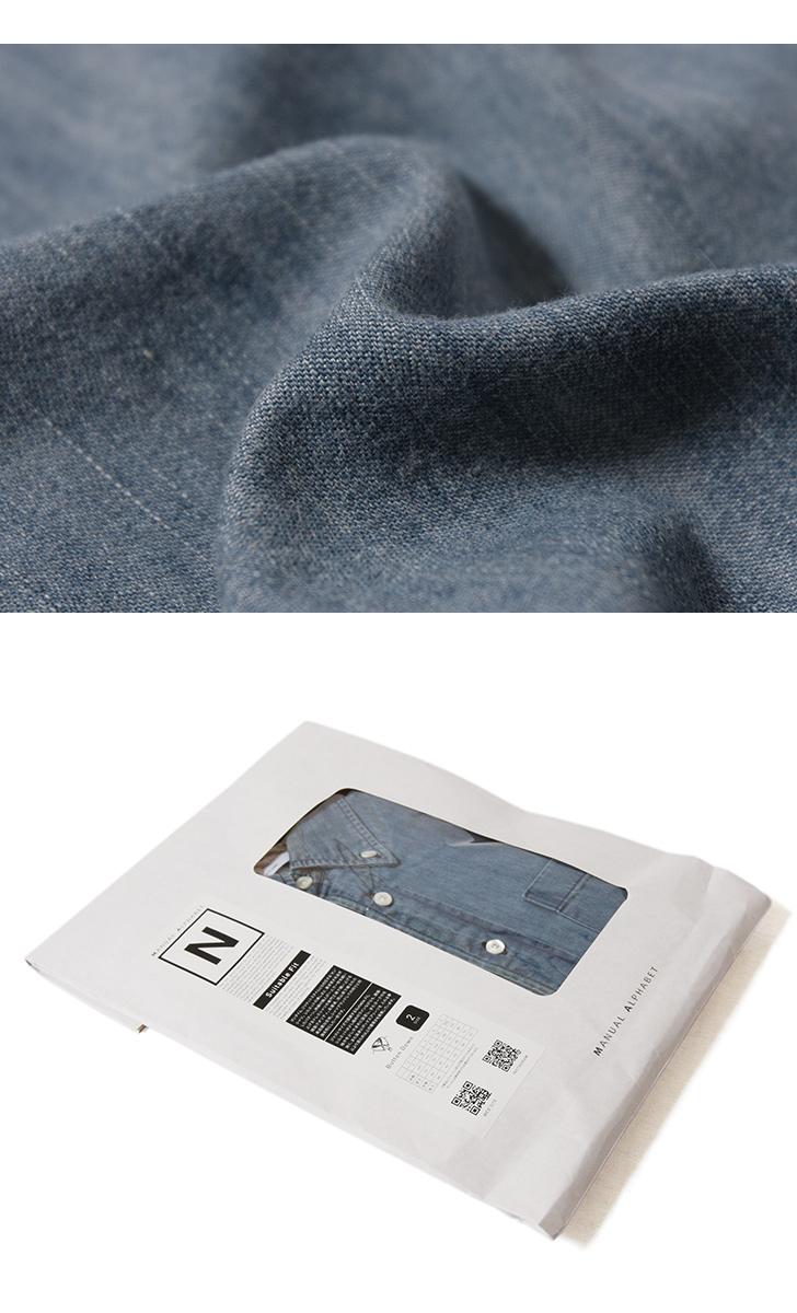 マニュアルアルファベット MANUAL ALPHABET 6ozデニムBDシャツ Suitable Fit スータブルフィット BASIC-ST-003