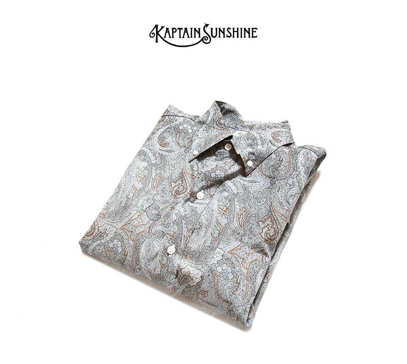 Kaptain Sunshine キャプテンサンシャイン ポロカラーシャツ グレーペイズリー Polocollar Shirt Grey Paisley KS21SSH03