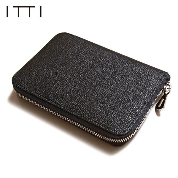 ITTI イッチ CRISTY STUFFING MID WLT クリスティスタッフィングミドルウォレット 長財布 二つ折り財布 ラウンドジップ 黒桟革 本藍 ITTI-WLT-002.5-E