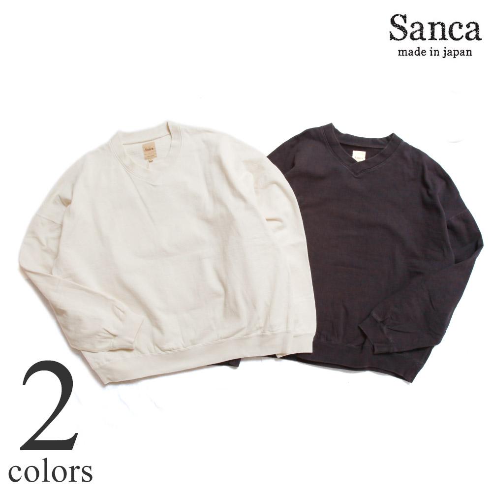 Sanca サンカ ハイゲージ フリース V スウェット HI GAUGE FLEECE V SWEAT S21FSW05 Vネック スエット メンズ 日本製