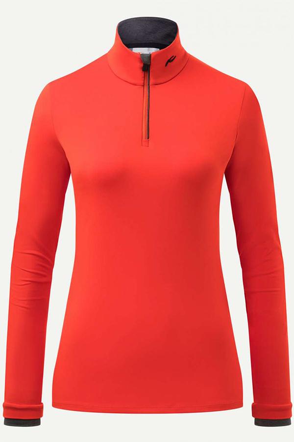 KJUS レディース スキー インナージャケット LS25-E06 Women Feel Half-Zip 81954 fiery red gr. mel