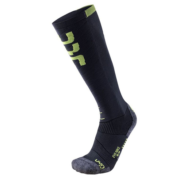 UYN メンズソックス SKI EVO RACE SOCKS S100034 G729-Anthracite/GreenLime