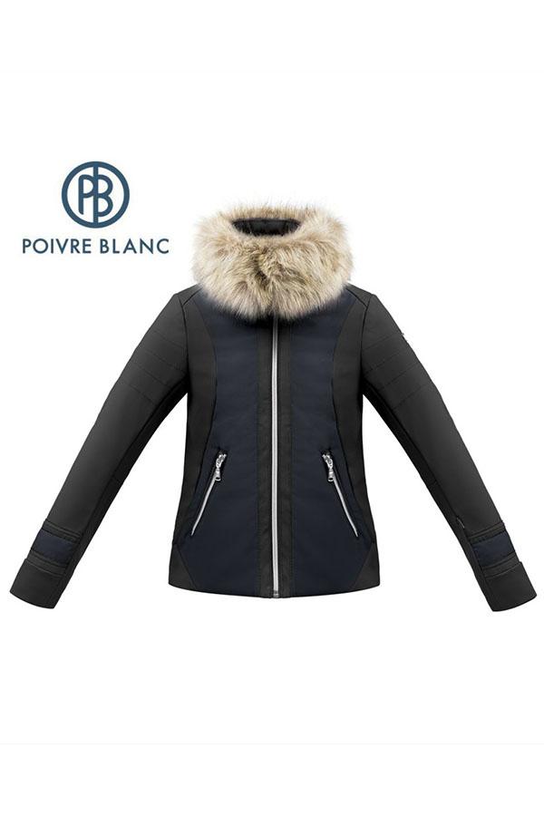 【50%OFF】POIVRE BLANC スキーガールズ ジュニア ジャケット W17-1101-JRGL jacket  softshell 263611 black/gothic blue 8サイズ