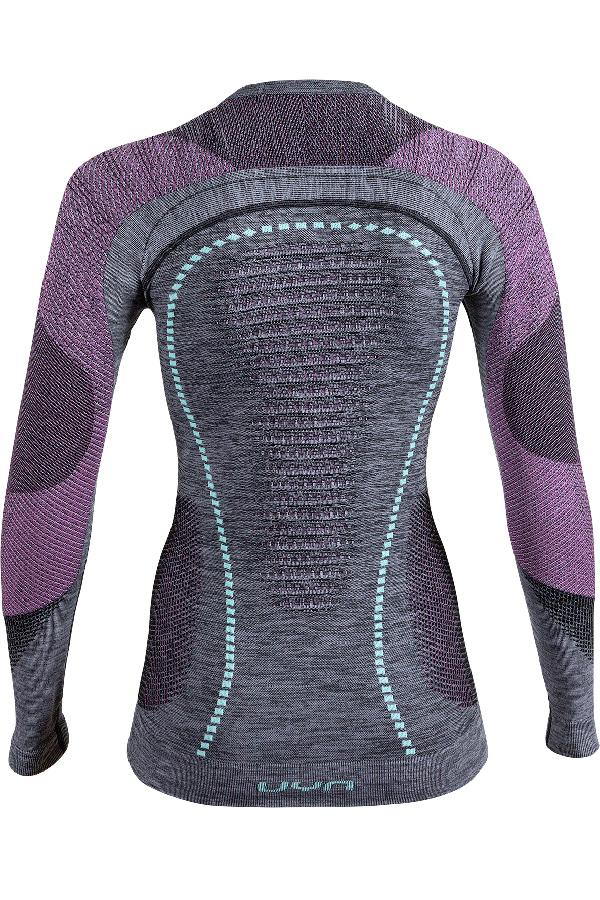 UYN レディースアンダーシャツ AMBITYON UW SHIRT LS ROUND NECK U100023 B617-    BlackMElange/Pink/ Aqua