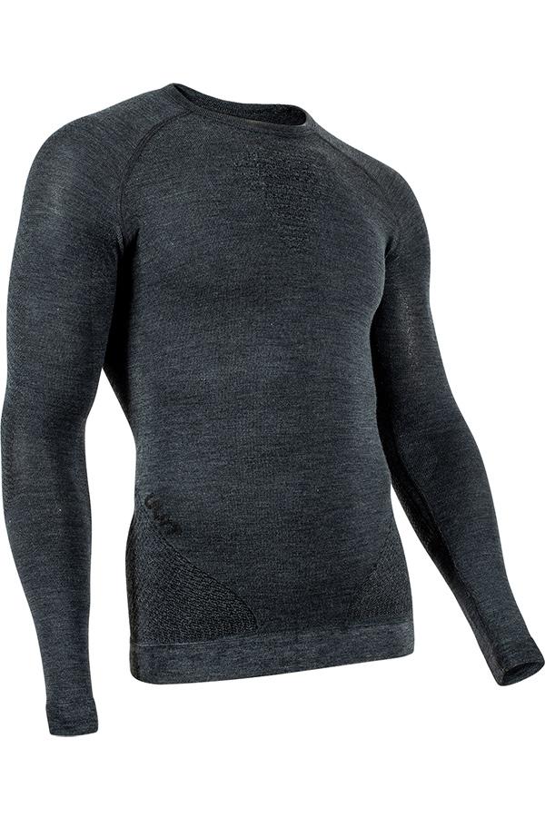 UYN メンズアンダーシャツ FUSYON C UW SHIRT LG SL ROUND NECK J247-GreyRock/Black