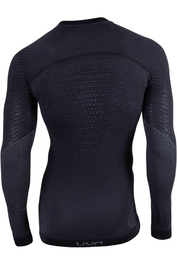 UYN メンズアンダーシャツ FUSYON UW SHIRT LG SL ROUND NECK B017-Black/Anthracite/ Anthracite