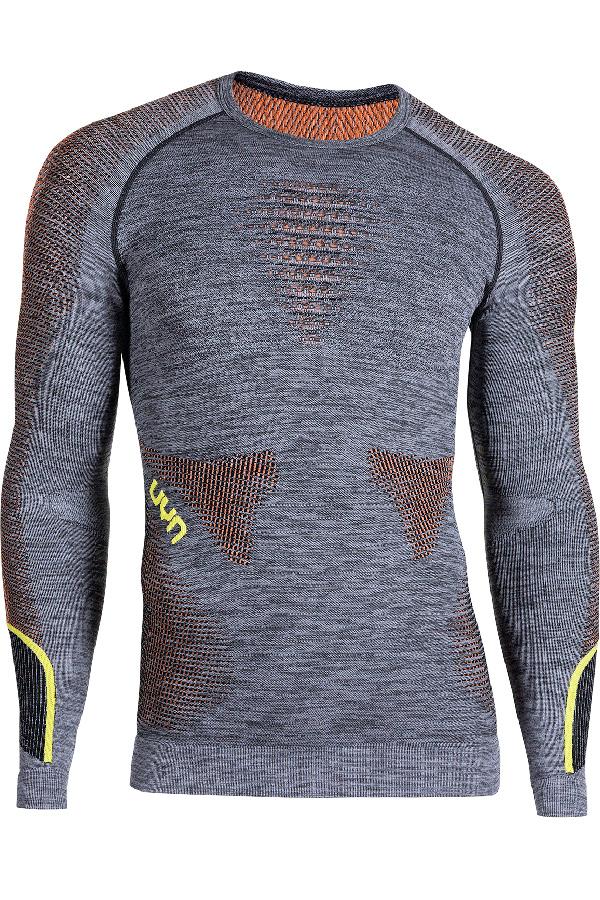 UYN メンズアンダーシャツ AMBITYON UW SHIRT LG SL ROUND NECK B616-BlackMelange/Orange/Yellow