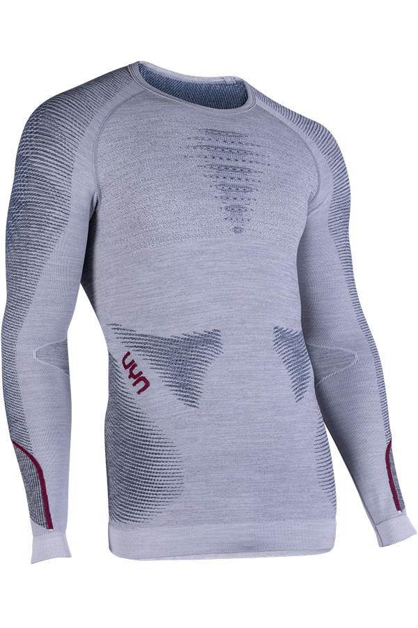 UYN メンズアンダーシャツ AMBITYON UW SHIRT LG SL ROUND NECK W351-WhiteMelange/Avio/ Bordeaux