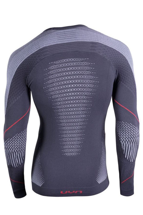 UYN メンズアンダーシャツ EVORUTYON UW SHIRT LG SL ROUND NECK G974-Charcoal/White/Red