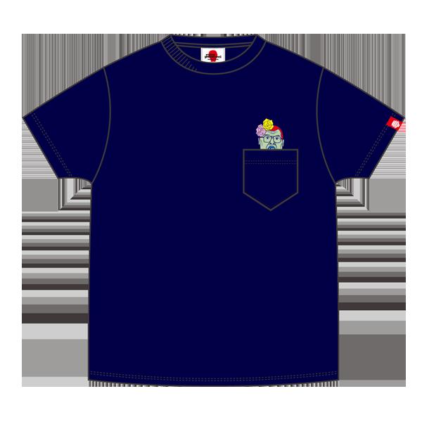 【パンクドランカーズxくっきー】くっきー刺繍TEE チェチェナ  ポケットT NAVY