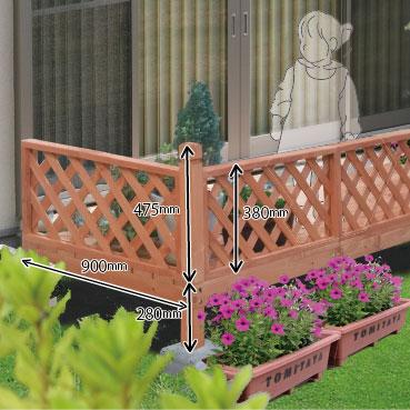 デッキキュート フェンス付 0.75坪(2700×900mm)【ライトブラウン】天然木のウッドデッキ
