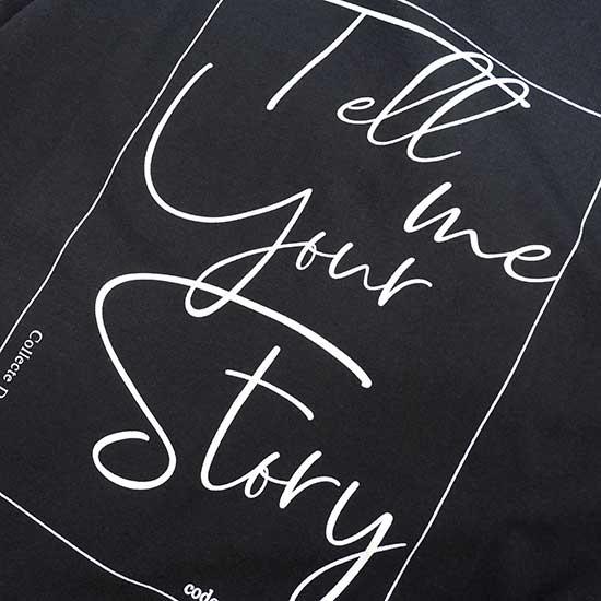 Z バックプリント T-shirts Vネック Black