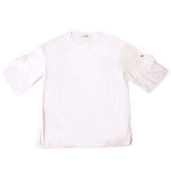 袖レースTシャツ