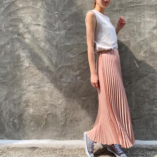 サテンプリーツスカート mocha pink