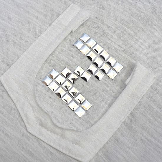 VネックロングTシャツ White