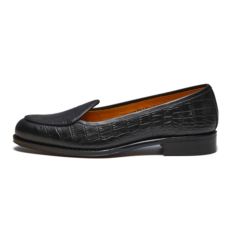98967 / BLACK CROCODILE STAMP (LEATHER SOLE)