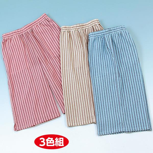 □■綿楊柳ストライプひざ下丈パンツ 3色組(M〜L)