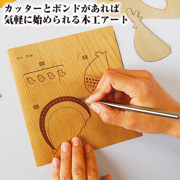 木貼り絵『ファミリートラベル』